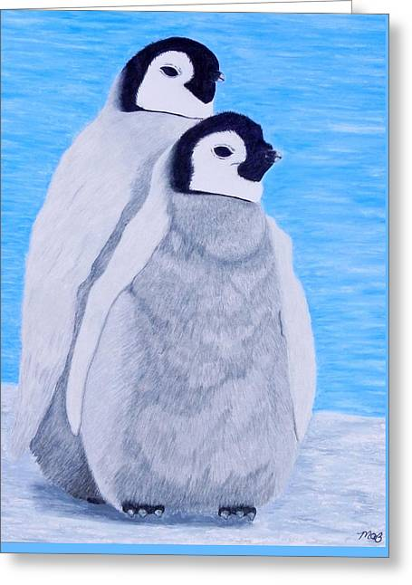 Penguins Pastels Greeting Cards - Baby Emperor Penguins  Greeting Card by Maureen Beaudet