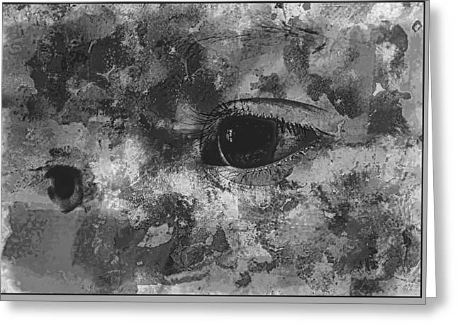 Baby Eyes, Black And White Greeting Card by Jean Francois Gil