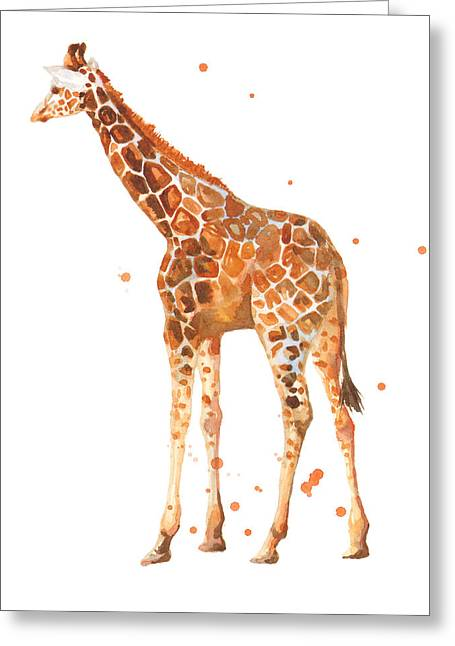 Safari Prints Greeting Cards - Baby Giraffe Greeting Card by Alison Fennell