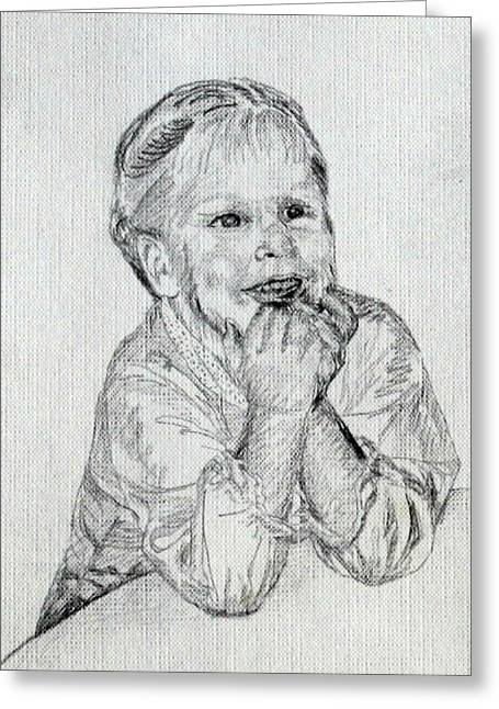 Angel Delight Greeting Cards - Baby Girl at Table Greeting Card by Sheri Parris