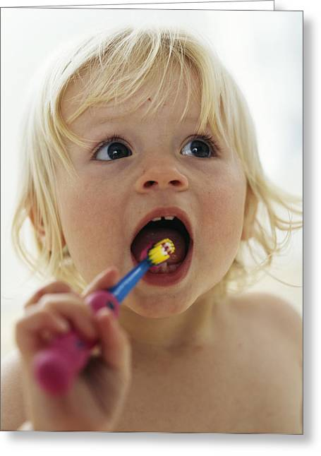 Child Care Greeting Cards - Baby Girl Brushing Teeth Greeting Card by Ian Boddy