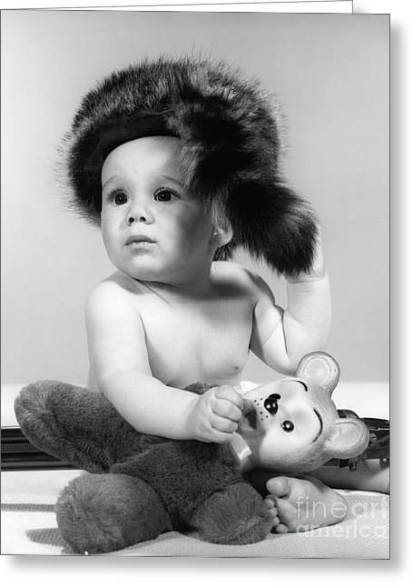 Baby In Coonskin Hat, C.1960s Greeting Card by H. Armstrong Roberts/ClassicStock