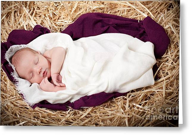 Singleton Greeting Cards - Baby Jesus Nativity Greeting Card by Cindy Singleton