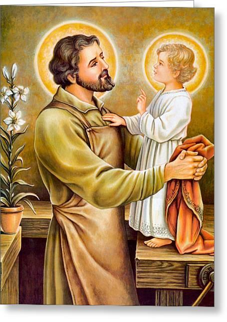 Joseph Photographs Greeting Cards - Baby Jesus Talking to Joseph Greeting Card by Munir Alawi