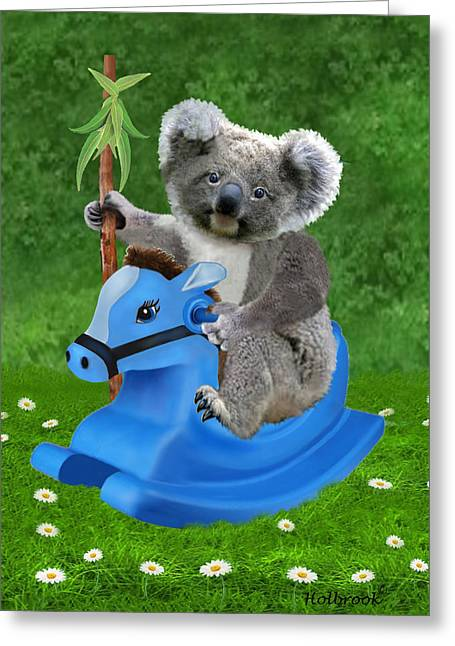 The Horse Greeting Cards - Baby Koala Buckaroo Greeting Card by Glenn Holbrook