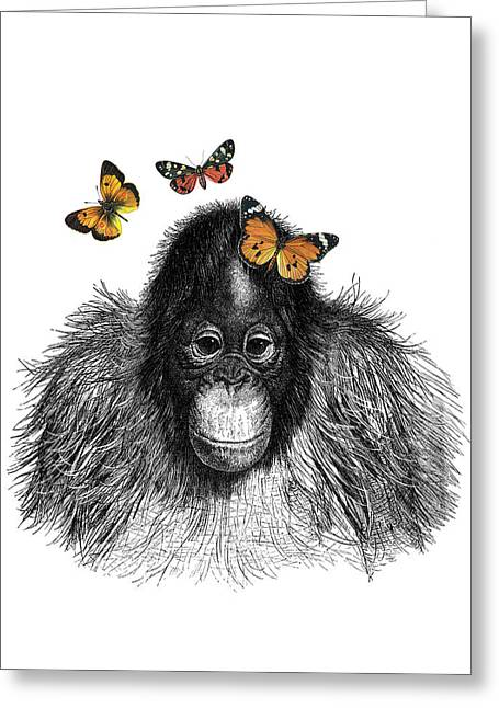 Baby Monkey With Orange Butterflies Greeting Card by Madame Memento