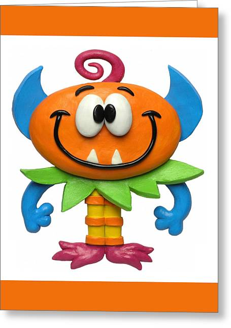 Clay Sculpture Greeting Cards - Baby Monster Greeting Card by Amy Vangsgard