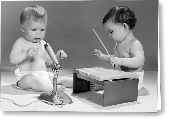 Baby Musicians, C. 1960s Greeting Card by H. Armstrong Roberts/ClassicStock