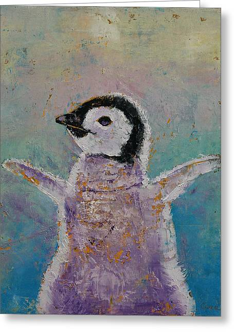 Baby Penguin Greeting Card by Michael Creese