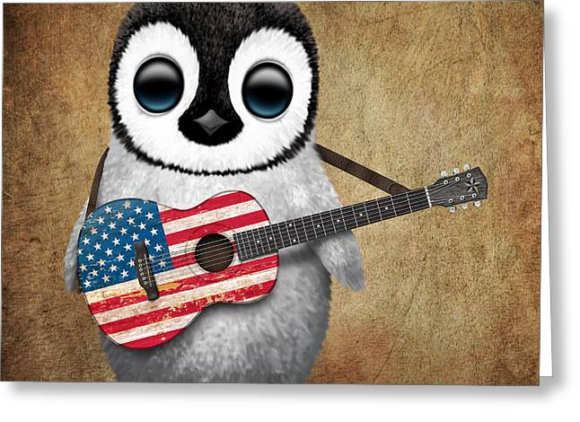 Flag Of Usa Greeting Cards - Baby Penguin Playing American Flag Guitar Greeting Card by Jeff Bartels