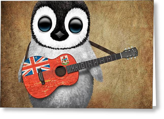 Playing Digital Art Greeting Cards - Baby Penguin Playing Bermuda Flag Guitar Greeting Card by Jeff Bartels