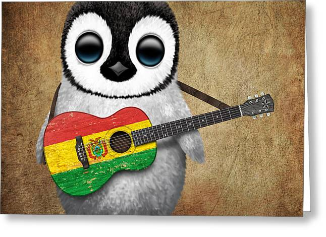 Playing Digital Art Greeting Cards - Baby Penguin Playing Bolivian Flag Guitar Greeting Card by Jeff Bartels