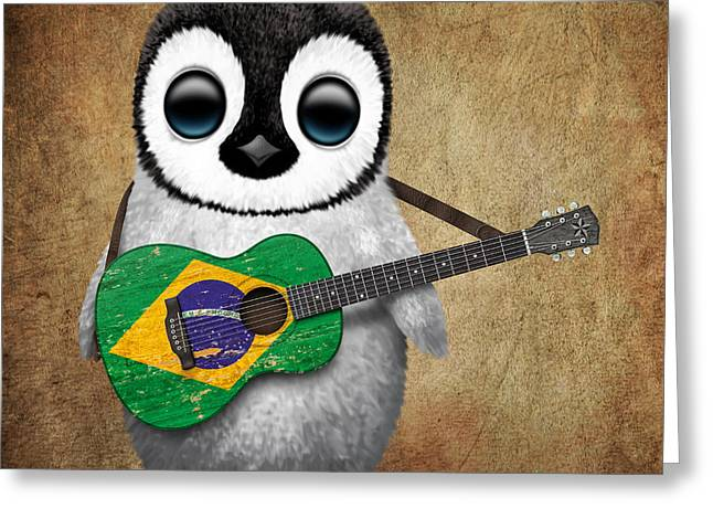 Jeff Greeting Cards - Baby Penguin Playing Brazilian Flag Guitar Greeting Card by Jeff Bartels