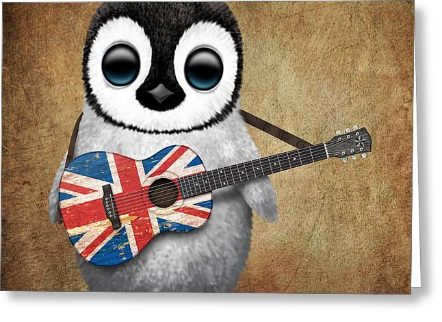 Playing Digital Art Greeting Cards - Baby Penguin Playing British Union Jack Flag Guitar Greeting Card by Jeff Bartels