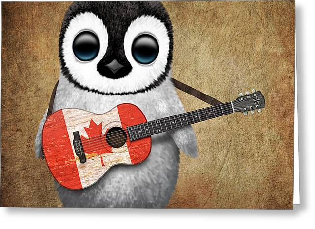 Playing Digital Art Greeting Cards - Baby Penguin Playing Canadian Flag Guitar Greeting Card by Jeff Bartels