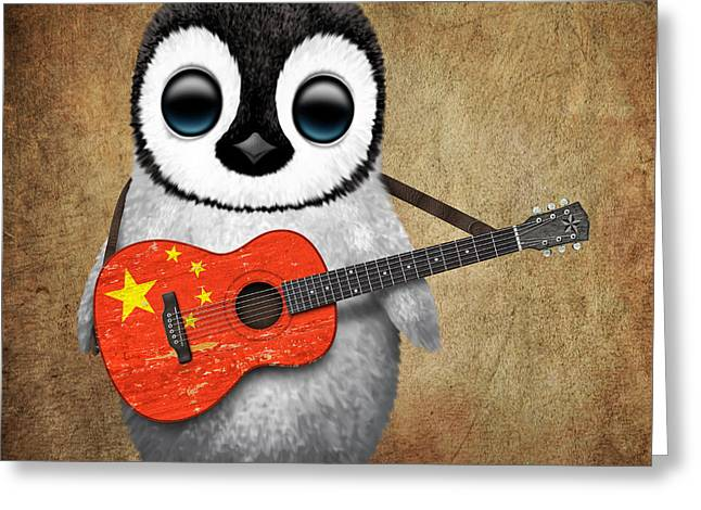 Baby Penguin Playing Chinese Flag Guitar Greeting Card by Jeff Bartels