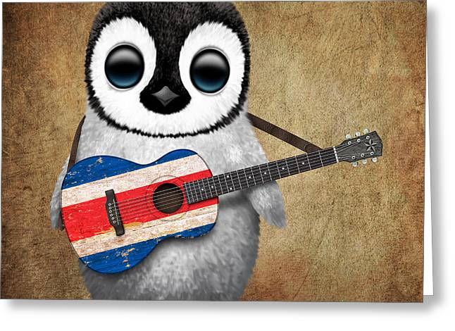 Costa Digital Greeting Cards - Baby Penguin Playing Costa Rican Flag Guitar Greeting Card by Jeff Bartels