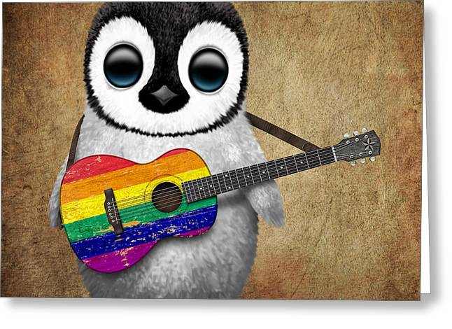 Jeff Greeting Cards - Baby Penguin Playing Gay Pride Rainbow Flag Guitar Greeting Card by Jeff Bartels
