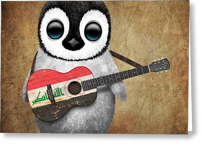 Iraq Greeting Cards - Baby Penguin Playing Iraqi Flag Guitar Greeting Card by Jeff Bartels
