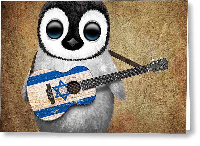 Israeli Digital Greeting Cards - Baby Penguin Playing Israeli Flag Guitar Greeting Card by Jeff Bartels