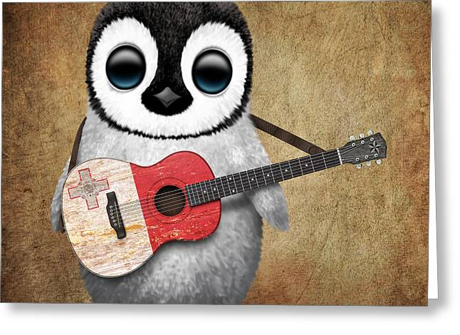 Maltese Greeting Cards - Baby Penguin Playing Maltese Flag Guitar Greeting Card by Jeff Bartels