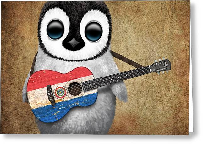 Paraguay Greeting Cards - Baby Penguin Playing Paraguay Flag Guitar Greeting Card by Jeff Bartels