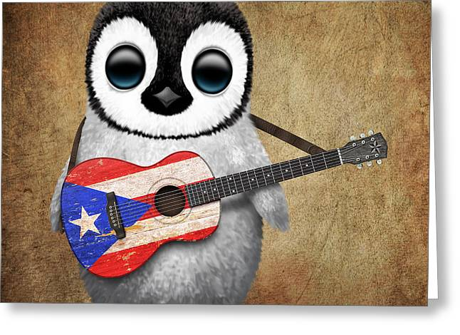 Puerto Rican Greeting Cards - Baby Penguin Playing Puerto Rican Flag Guitar Greeting Card by Jeff Bartels