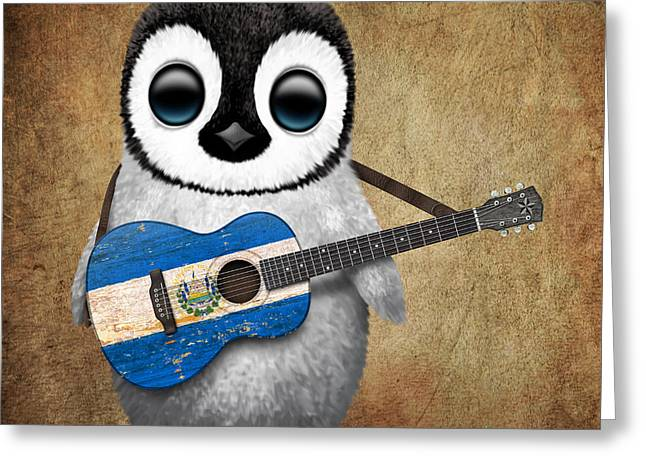 Jeff Greeting Cards - Baby Penguin Playing Salvadorian Flag Guitar Greeting Card by Jeff Bartels