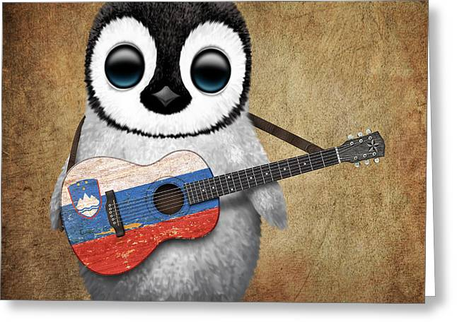 Playing Digital Greeting Cards - Baby Penguin Playing Slovenian Flag Guitar Greeting Card by Jeff Bartels