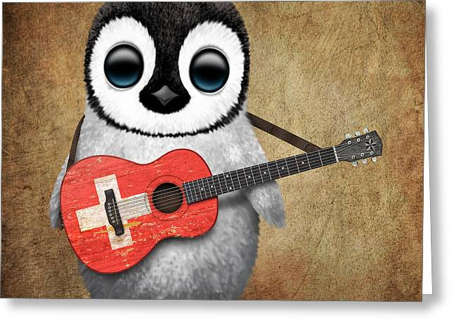 Swiss Flag Greeting Cards - Baby Penguin Playing Swiss Flag Guitar Greeting Card by Jeff Bartels