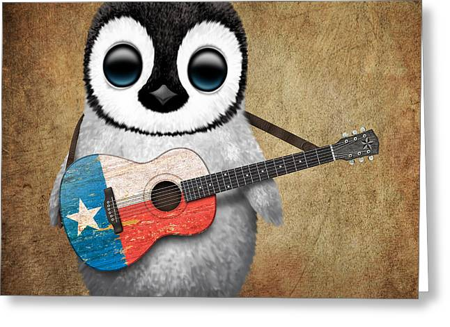 Flag Of Usa Greeting Cards - Baby Penguin Playing Texas Flag Guitar Greeting Card by Jeff Bartels