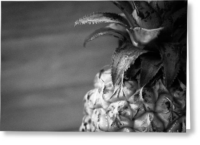 Pineapple Pyrography Greeting Cards - Baby Pineapple BW Greeting Card by Olga Photography