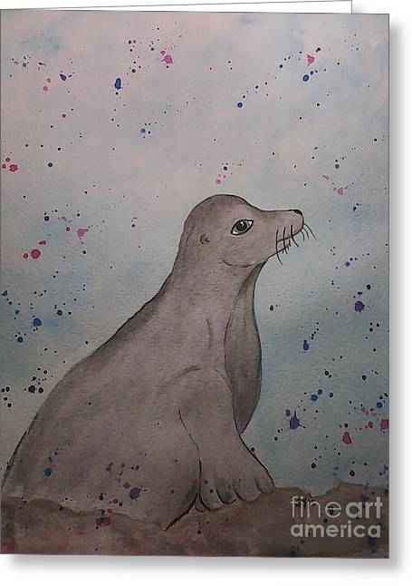 Lions Greeting Cards - Baby Seal Greeting Card by Ginny Youngblood
