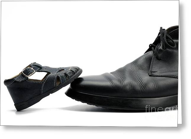 Large Scale Greeting Cards - Baby shoe on adult mans shoe Greeting Card by Sami Sarkis
