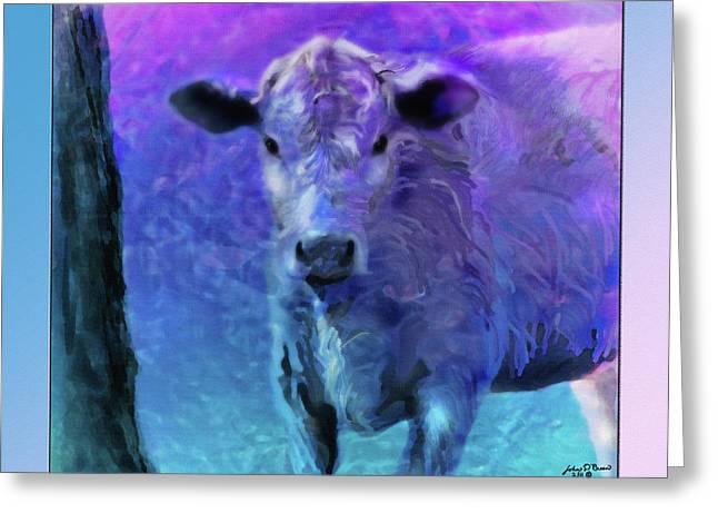 Steer Mixed Media Greeting Cards - Baby Steer 3 Greeting Card by John Breen