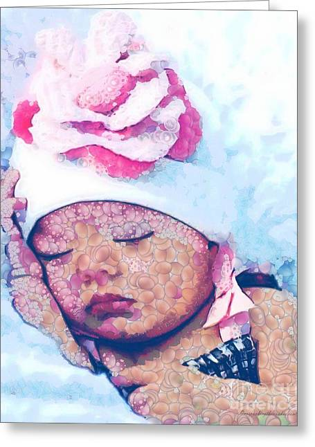 Print On Canvas Greeting Cards - Baby Sundea Hat Fragmented Greeting Card by Catherine Lott