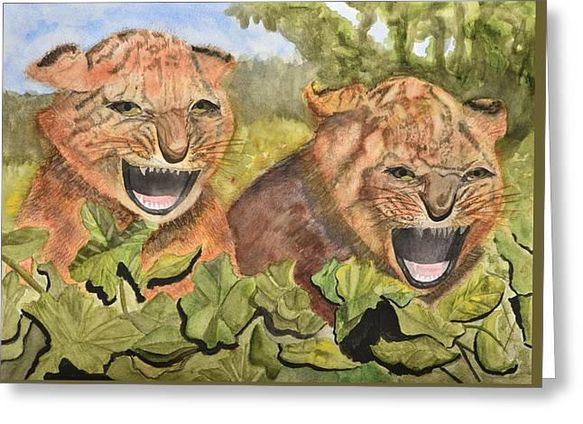 Growling Paintings Greeting Cards - Baby Tiger Cubs Greeting Card by Linda Brody