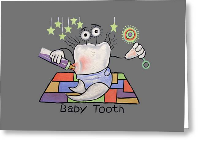 Shirt Digital Greeting Cards - Baby Tooth T-Shirt Greeting Card by Anthony Falbo