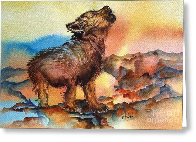 Baby Wolf Greeting Card by Donna Martin
