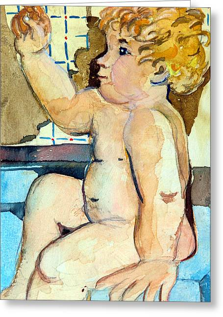 Blonde Mixed Media Greeting Cards - Babys Bath Greeting Card by Mindy Newman