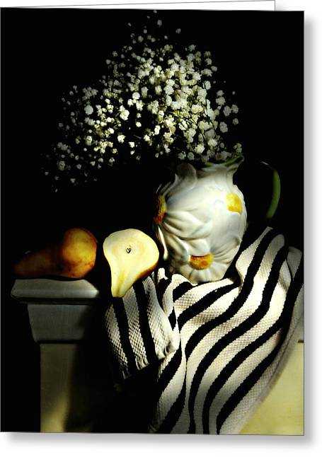Still Life With Pitcher Greeting Cards - Babys Breath and Pear Greeting Card by Diana Angstadt