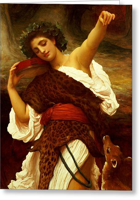 Leopard Skin Greeting Cards - Bacchante Greeting Card by Frederic Leighton