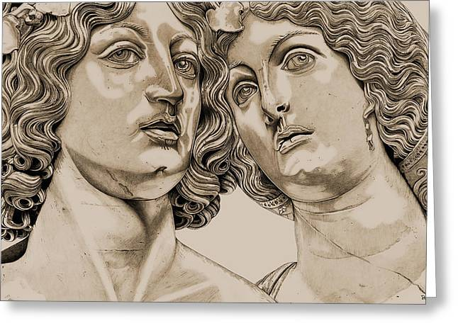 Greek Sculpture Drawings Greeting Cards - Bacchus And Ariadne _v3 Greeting Card by Bruce Algra