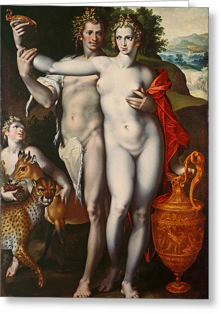 Bacchus And Venus Greeting Card by Bartholomaeus Spranger