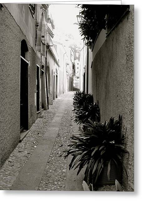 Portofino Italy Greeting Cards - Back Alley Greeting Card by Corinne Rhode