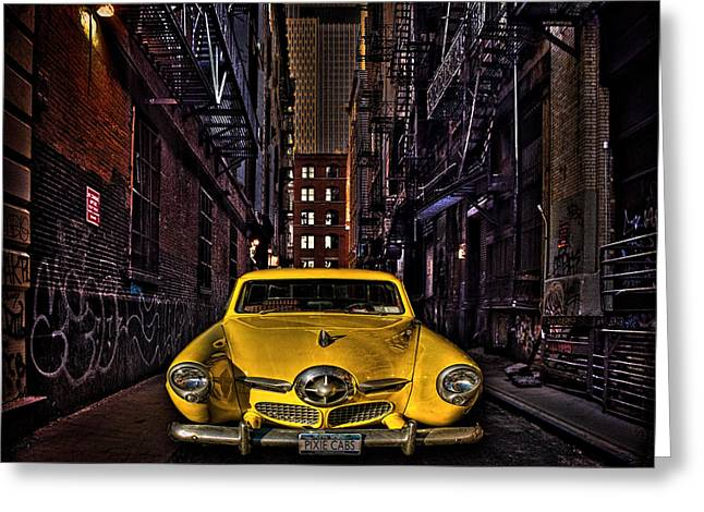 Chris Lord Greeting Cards - Back Alley Taxi Cab Greeting Card by Chris Lord
