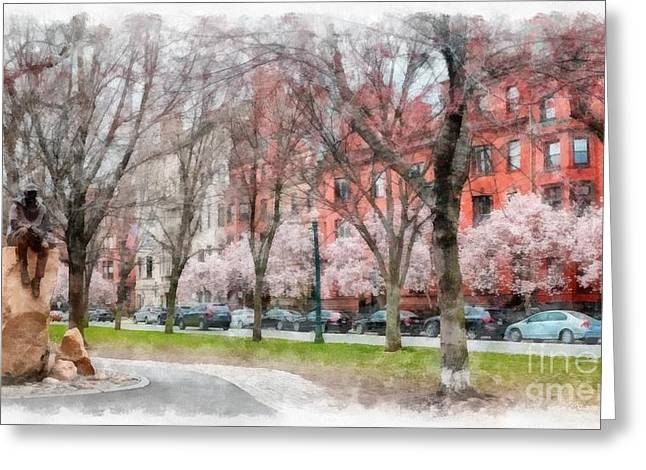 Magnolia Tree Greeting Cards - Back Bay Boston Watercolor Greeting Card by Edward Fielding