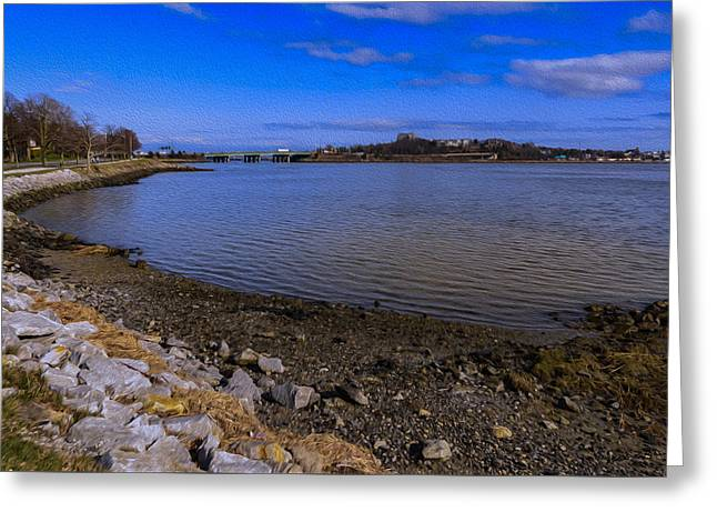 Maine Beach Greeting Cards - Back Cove Afternoon-Oil Greeting Card by Mark Myhaver