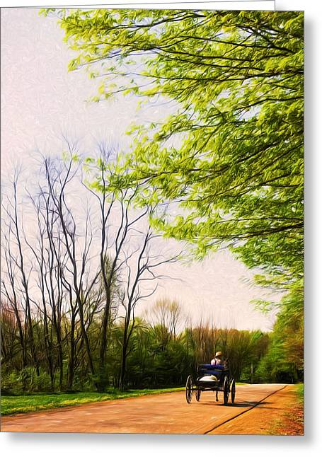 Amish Greeting Cards - Back from town Greeting Card by Chris Bordeleau