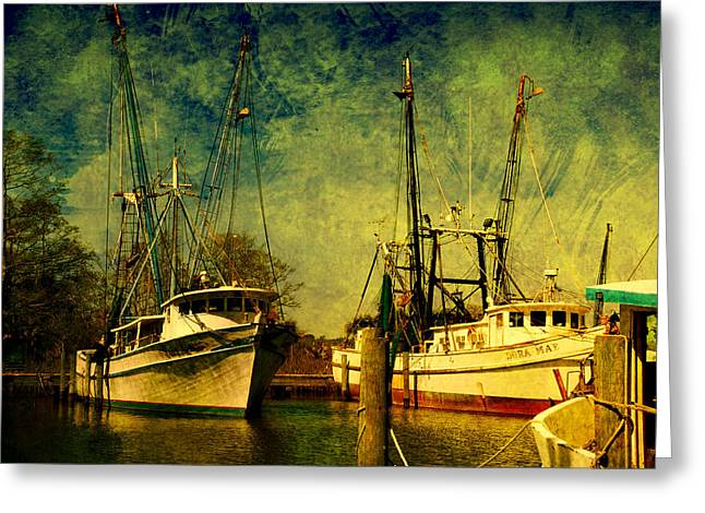 Apalachicola Greeting Cards - Back home in the harbor Greeting Card by Susanne Van Hulst